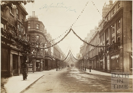 Milsom Street, Bath decorated for the Diamond Jubilee of Queen Victoria 1897