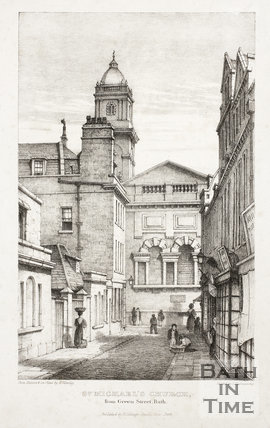 St. Michael's Church from Green Street, Bath c.1835