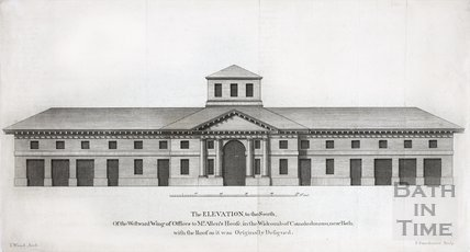 The Elevation to the South, Of the Westward Wing of Offices to Mr. Allen's House, in the Widcombe of Camalodunum, near Bath with the Roof as it was Originally Designed 1749