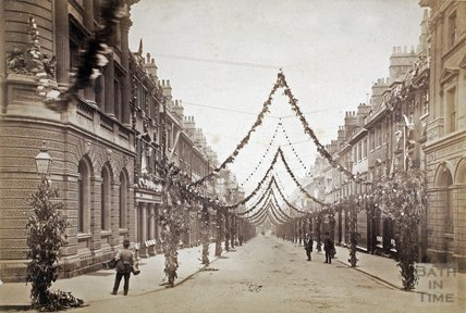 Milsom Street, Bath. Decorated for the Diamond Jubilee of Queen Victoria in 1897