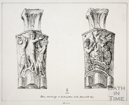 Stone carvings at Batheaston Mill, Somerset 1857