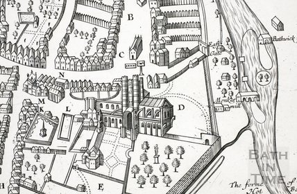 Bath as depicted in John Speed's Map of Somersetshire 1610 - detail