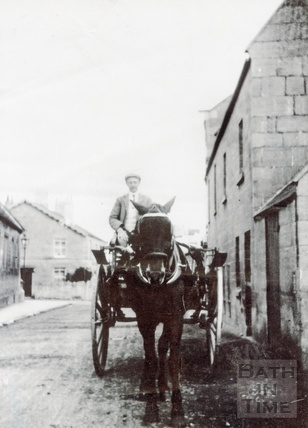 Bert Noad in his horse and cart, Noads Corner, Bloomfield Road c.1920s?
