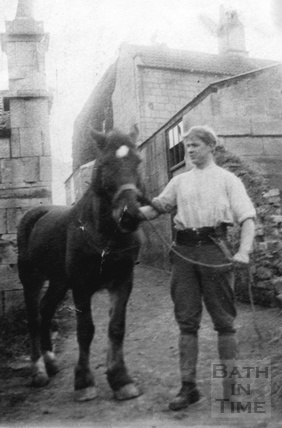 Herbert Noad with his horse Prince in the yard at 3 Crescent Place c.1940s