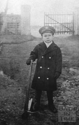 Edward John Noad in the yard at 3 Crescent Place c.1920s