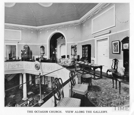 Interior view along the gallery of the Octagon Church, Milsom Street, home of Mallett & son c.1920