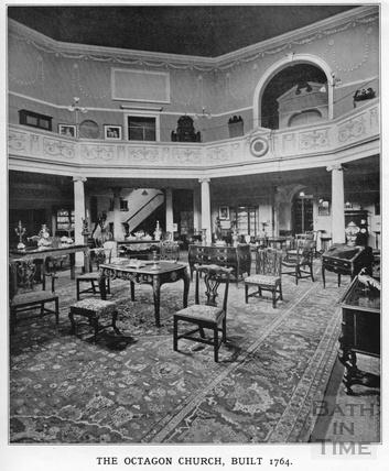 Interior view of the Octagon Church, Milsom Street, home of Mallett & son c.1920