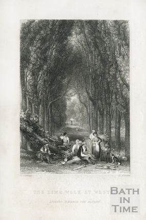 The Lime Walk at Weston, looking towards the alcove 1836