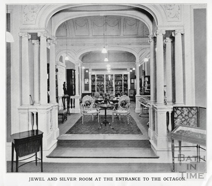 The jewel and silver room at the entrance to the Octagon Church, Milsom Street, home of Mallett & son c.1920