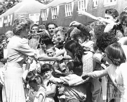 Princess Diana meeting residents in Twerton, Bath 31 May 1985