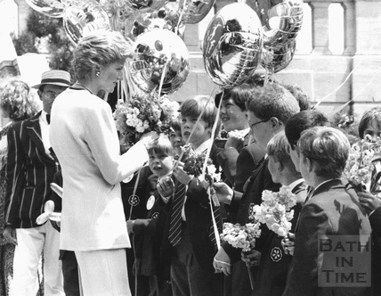 Princess Diana meeting children from King Edwards School, Bath 10 December 1992