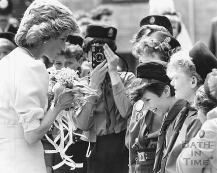 Princess Diana meeting girl guides in Twerton, Bath 31 May 1985