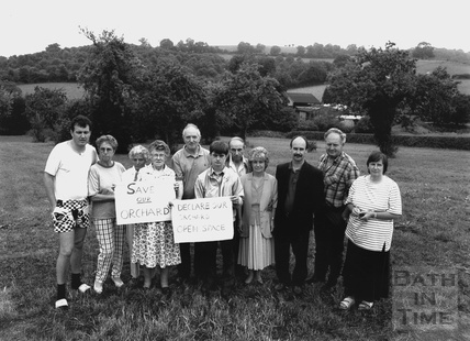 Local campaigners at the Broadmoor Lane development site, Weston 19 July 1995