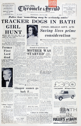 Cover of the Bath Chronicle & Herald, Wednesday July 13, 1960
