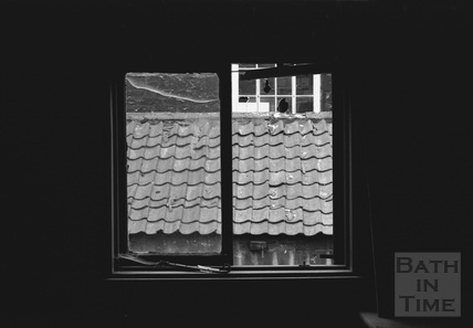 View through a window in the Lampards Buildings, Morford Street demolition area 1972