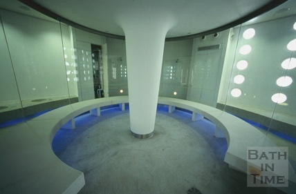 Inside a steam pod at the Thermae Bath Spa, August 2003