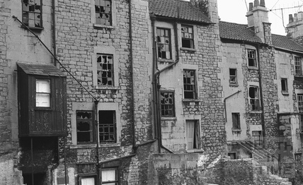 Rear of condemned buildings in Morford Street 1972
