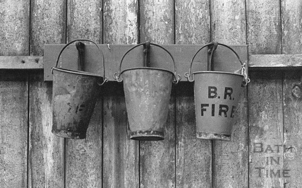 Abandoned fire buckets at the railway shunting yard at Green Park Station c.1972