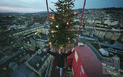 Crane operator Bernie Thomas, seen from the top of his crane, above the Thermae Bath Spa site, December 2002