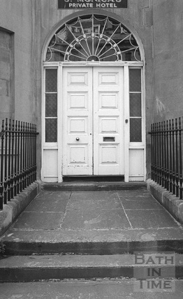 Doorway, St Monica's Private Hotel, Great Pulteney Street c.1974