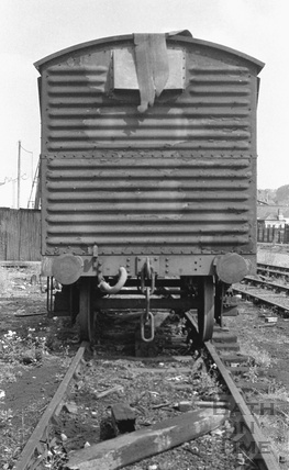 An abandoned goods carriage in the railway shunting yard at Green Park Station c.1972