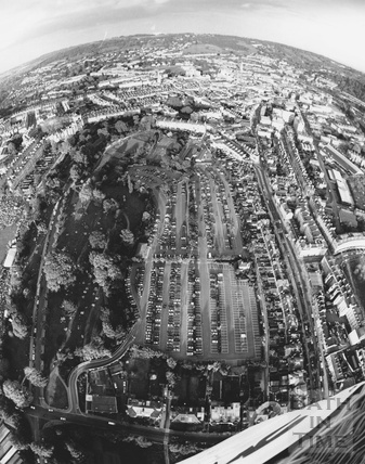 1991 Fish Eye lens aerial view of the Charlotte Street Car Park. Bath May
