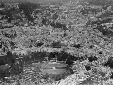 c.1930 Aerial view of Bath looking north east from Charlotte Street over the Circus