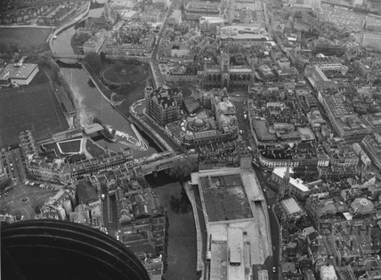 1975 Aerial view of Bath showing the empty Podium Site and undeveloped Recreation Ground 24 Nov