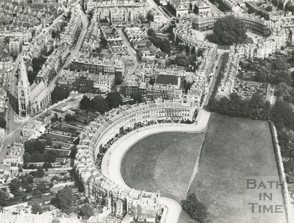 c.1930 Aerial view of the Royal Crescent, Bath looking east