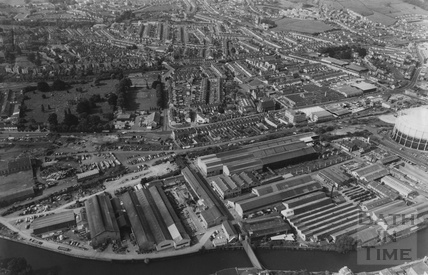 1981 Aerial view of the Stothert and Pitt works and Pitman Press, Bath 3 August