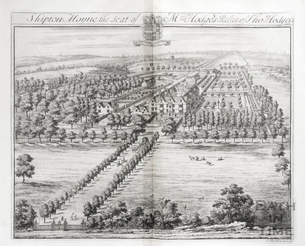 Shipton Moyne, the Seat of Mrs Hidges, Relict of Tho Hodges Esq. by Johannes Kip 1712