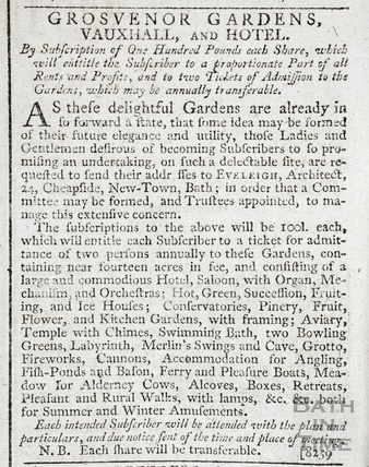 Subscription offer for the Grosvenor Gardens, Vauxhall and Hotel 1792