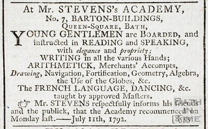 Advertisement for Mr Steven's Academy, No 7 Barton buildings, Bath 1792