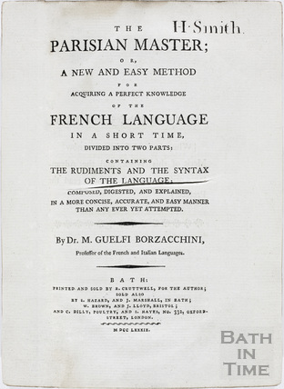 Title page for The Parisian Master or A New and Easy Method for Acquiring Perfect Knowledge of the French Language in a Short Time 1789