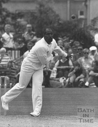 Cricketer Viv Richards bowling at Trowbridge, June 1991