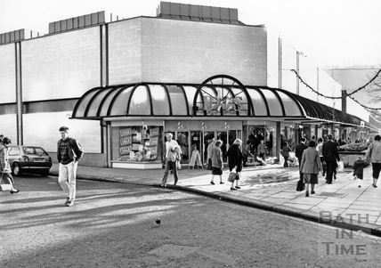 The northern corner of the Southgate Shopping Centre, February 1990