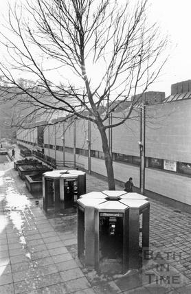 Public telephone kiosks beside the Southgate Shopping Centre towards Ham Gardens, January 1990