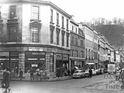 Holloways Butchers, on the junction of New Orchard Street and Southgate Street c. January 1969.