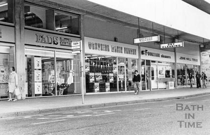 Shops in Ham Gardens, on the fringes of the Southgate Shopping Centre 27 June 1977