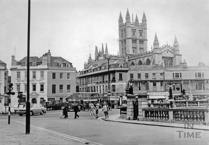 View towards Bath Abbey from the end of North Parade c.1970s