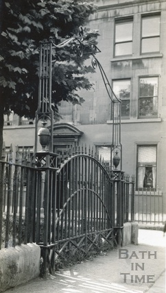 Beauford Square, view of the east side showing the railed enclosure and lamp brackets c.1915