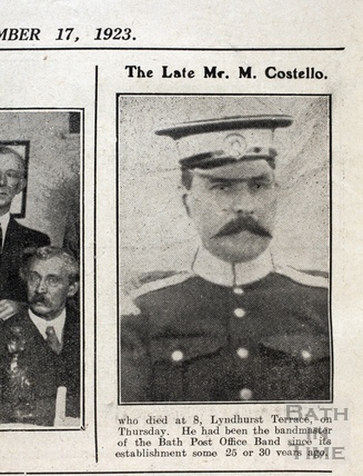 The Late Mr Michael Costello, who died at 8 Lyndhurst Terrace, Bath Nov 1923