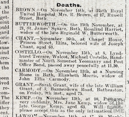 The death notice of Mr Michael Costello of 8 Lyndhurst Terrace 1923
