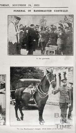 The funeral of Bandmaster Michael Costello, at the graveside and his charger, Nov 1923