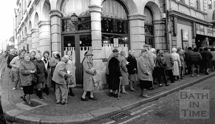 Pensioners queuing outside the Canon cinema, Westgate Street October 1994