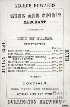 Trade Card for George Edwards, Wine and Spirit Merchant, Burlington Brewery, Julian Road Bath