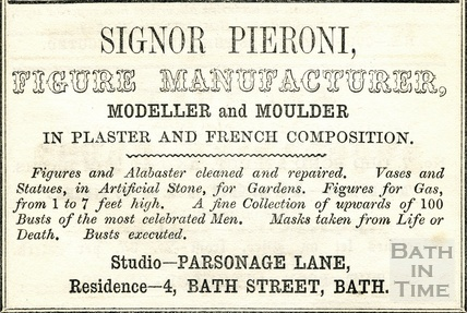 Trade advertisement for Signor Pieroni, Figure Manufacturer, Modeller and Moulder 1854