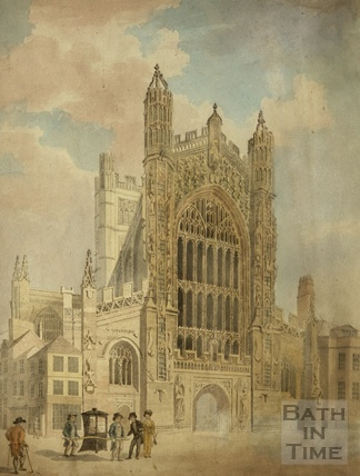 Bath Abbey with sedan chair and Wades Passage c.1804
