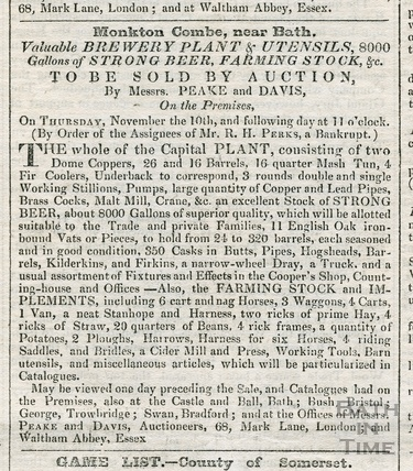 Advertisement for valuable brewery Plant & Utensils Monkton Combe 1831