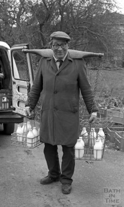 Milkman Tony Candy, with his novel yoke, March 1989